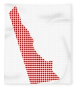 Red Dot Map Of Delaware Fleece Blanket