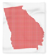Red Dot Map Of Georgia Fleece Blanket