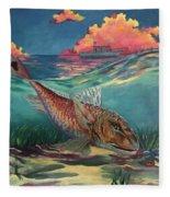 Red Fish Hunt Fleece Blanket