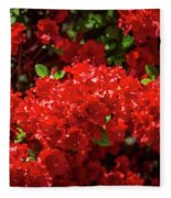 Red Flowers Fleece Blanket