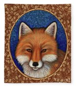 Red Fox Portrait - Brown Border Fleece Blanket by Amy E Fraser
