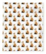 Red Fox Watercolor Pattern Fleece Blanket