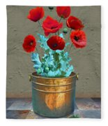 Red Patio Poppies Fleece Blanket