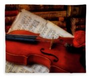 Red Rose And Violin With Sheet Music Fleece Blanket