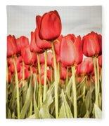 Red Tulip Field In Portrait Format. Fleece Blanket
