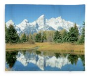 Reflection Of Mountains In Water, Grand Fleece Blanket