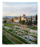 Remains Of The Roman Agora And Cityscape Of  Athens, Greece Fleece Blanket