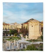 Remains Of The Roman Agora And Tower Of The Winds In Athens Fleece Blanket