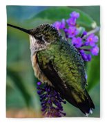 Rescued Ruby-throated Hummingbird Fleece Blanket