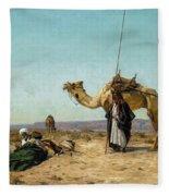 Rest In The Syrian Desert, 19th Century Fleece Blanket