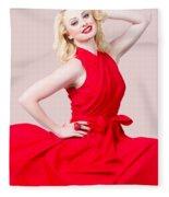 Retro Blond Pinup Woman Wearing A Red Dress Fleece Blanket