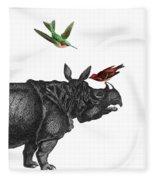 Rhinoceros With Birds Art Print Fleece Blanket
