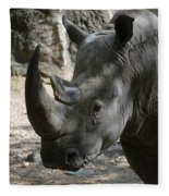 Rhinoceros With Two Horns Up Close And Personal Fleece Blanket
