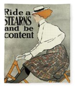 Ride A Stearns And Be Content, Circa 1896 Fleece Blanket