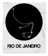 Rio De Janeiro Black Subway Map Fleece Blanket
