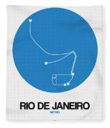 Rio De Janeiro Blue Subway Map Fleece Blanket