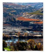 River, Canyon And Slopes Fleece Blanket