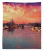 River Thames At Molesey Fleece Blanket