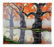 Riverside Trees Fleece Blanket
