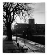 riverside walk in Haddington on winters morning Fleece Blanket