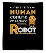Robot Human Costume Fleece Blanket