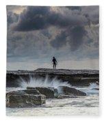 Rock Ledge, Spear Fishermen And Cloudy Seascape Fleece Blanket
