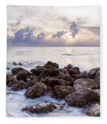 Rocky Beach At Sunset Fleece Blanket by Brian Jannsen