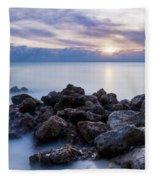 Rocky Beach At Sunset II Fleece Blanket by Brian Jannsen