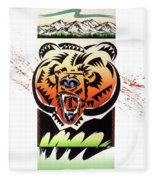 Rocky Mountain Grizzly Fleece Blanket