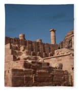Roman Temple In Petra Fleece Blanket