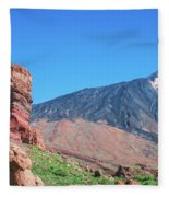 Roque Cinchado In Front Of Mount Teide Fleece Blanket