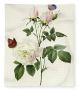 Rosa Bengale The Hymenes By Redoute Fleece Blanket