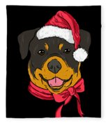 Rotweiler Xmas Hat Dog Pet Lover Christmas Fleece Blanket