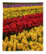 Row After Row After Row Of Tulips Fleece Blanket