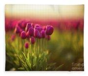 Rows Of Magenta Painterly Tulips Fleece Blanket