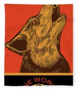 Rubino Wolf Dog Love One World Fleece Blanket