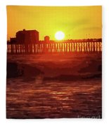 Ruby Sunset Oceanside Pier Fleece Blanket