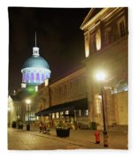 Rue Saint Paul In Old Montreal At Night Fleece Blanket
