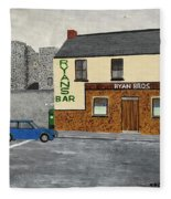 Ryans Pub And Swords Castle Painting Fleece Blanket