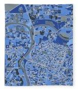 Sacramento Map Retro 5 Fleece Blanket