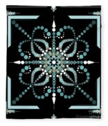 Sacred Circle Design In Blues And White Fleece Blanket