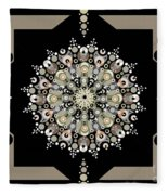 Sacred Circle Design In Gold, Cream And White Fleece Blanket