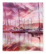 Sailboat Reflections At Sunrise Abstract Fleece Blanket