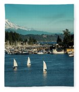 Sailboats At Gig Harbor Marina With Mount Rainier In The Background Fleece Blanket