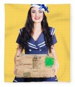 Sailor Pin Up Holding Nautical Supplies Fleece Blanket