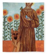 Saint Francis And The Wolf Of Gubbio Fleece Blanket