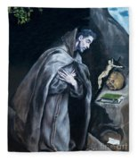 Saint Francis Kneeling In Meditation Fleece Blanket