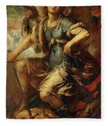 Saint Michael The Archangel Fleece Blanket