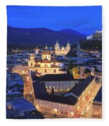 Salzburg At Night Austria  Fleece Blanket