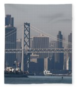 San Francisco Past The Bay Bridge Fleece Blanket